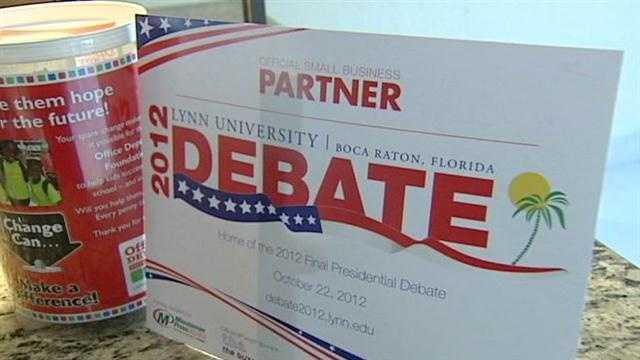Lynn University presidential debate business partner sign