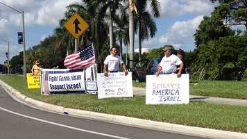 Protesters were out early Monday at Lynn University, well ahead of the final presidential debate that's not scheduled to begin until 9 p.m. (Photo: Randy Gyllenhaal/WPBF)