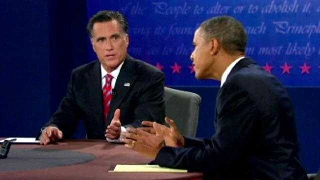 Obama and Romney during debate
