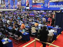 A wide shot of the media center. It's actually a pretty impressive operation. (Photo: John P. Wise/WPBF)
