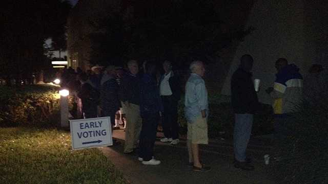 Lines formed outside an early-voting location in Delray Beach well before 7 a.m. Wednesday.