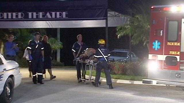 A stagehand is taken to St. Mary's Medical Center after falling from a catwalk at the Maltz Theatre.
