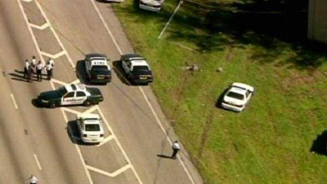A bank robbery suspect is killed in a deputy-involved shooting on Interstate 95.