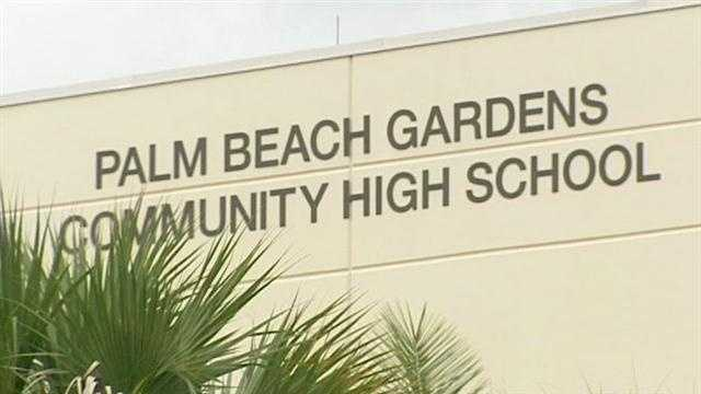 Palm Beach Gardens Community High School sign on side of building