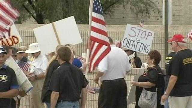 Image Demonstrators protest at St. Lucie County Elections Supervisor's office