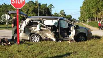 Two children had to be cut from this minivan and rushed to an area hospital after an accident on Nov. 15. (Photo: Chris McGrath/WPBF)