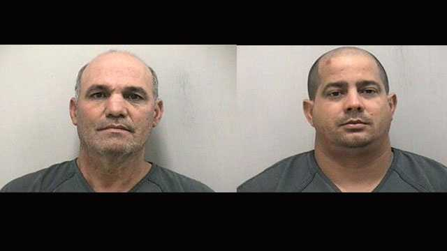 Miguel Alfonso-Roche, 54, (left) and Maykal Marquez-Morejom, 31, were arrested on grand theft charges in Martin County.