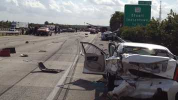 A nine-vehicle accident shut down the southbound lanes of Interstate 95 in Martin County.