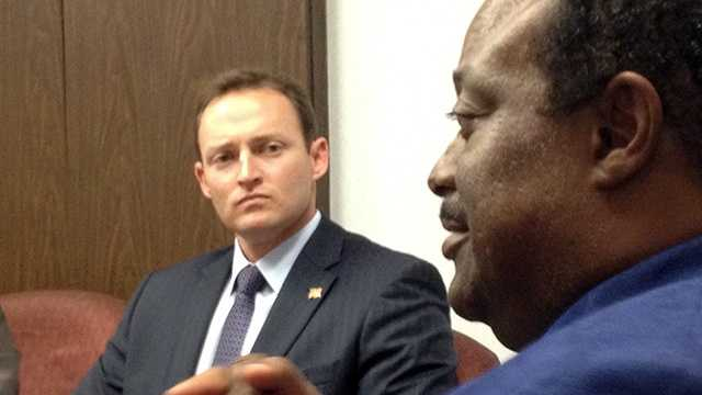 Congressman-elect Patrick Murphy, left, met with Riviera Beach Mayor Thomas Masters on Dec. 6 and covered a range of issues. (Photo: Chris McGrath/WPBF)