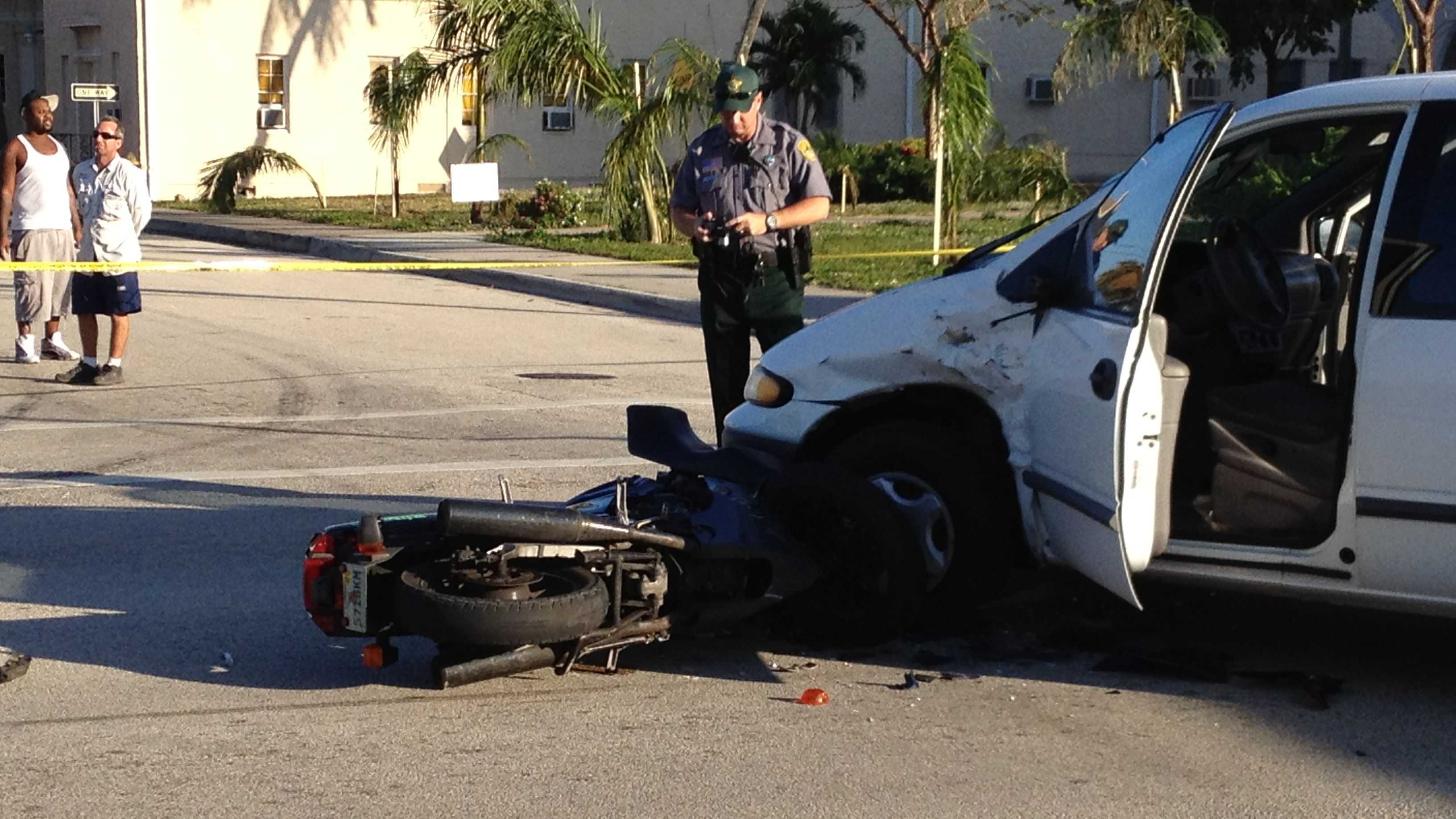 Two people were hospitalized after a motorcycle and van collided in Lake Worth.