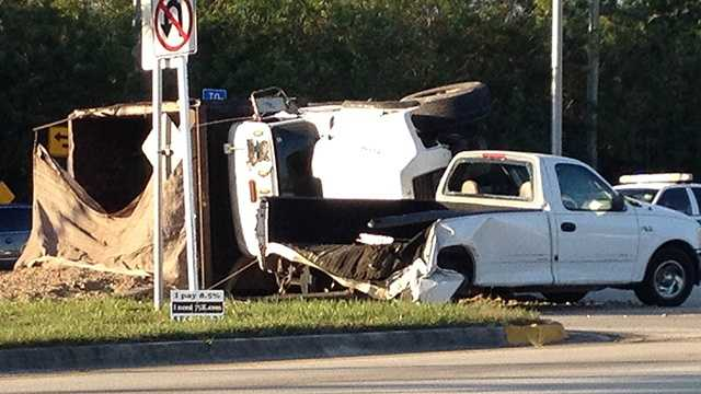 Two vehicles collided on Southern Boulevard, causing traffic headaches for morning commuters on Friday. (Photo: Chris McGrath/WPBF)