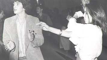 John F. Kennedy Jr. and Caroline Kennedy party at Studio 54 circa 1977.