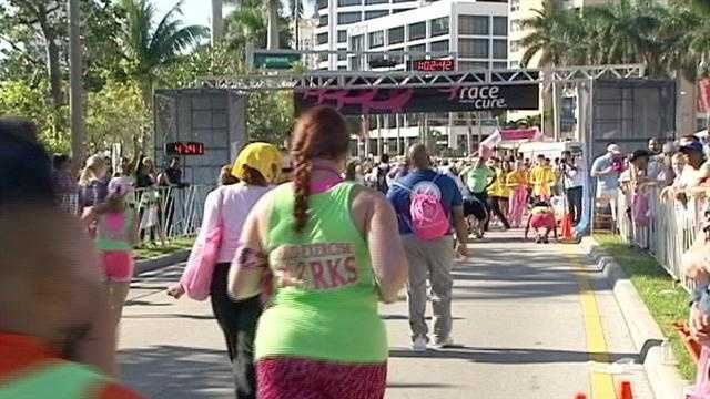 Thousands raced Sunday for the annual Susan G. Komen race for a cure in downtown West Palm Beach.
