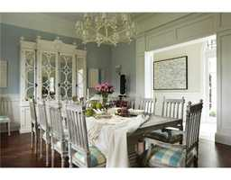 White also brightens up this beautiful dining room.