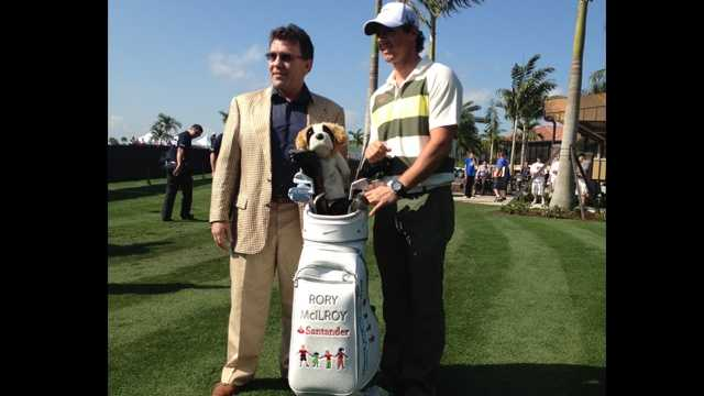 Defending Honda Classic champion Rory McIlroy will auction his golf bag used in this weekend's tournament.