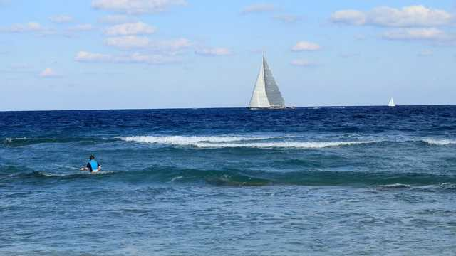 Generic Sailboat Beach Ocean Nice Weather