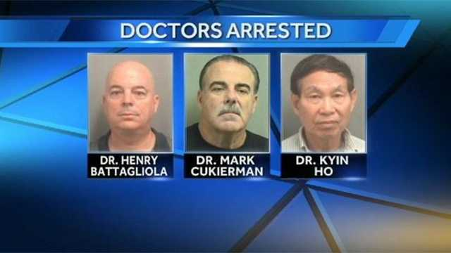 Three doctors were arrested at a clinic in Boca Raton, accused of prescribing painkillers without a license.