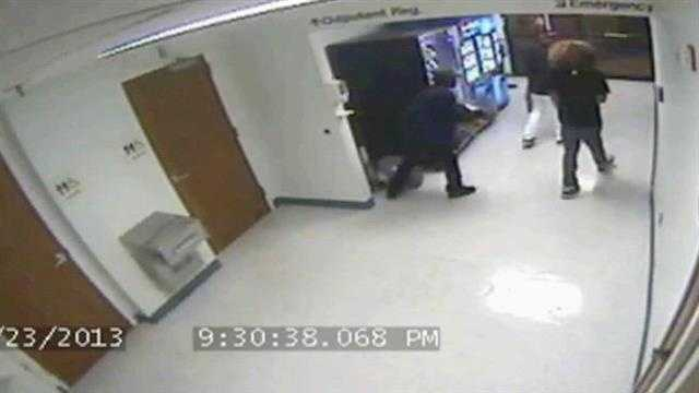A thief is caught on surveillance video stealing a gumball machine from the lobby of the emergency room at St. Lucie Medical Center.