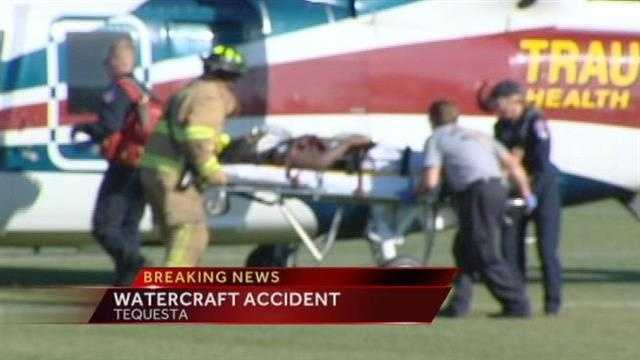 A man is flown to a hospital after an accident involving a Wave Runner in Tequesta.