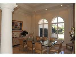 The formal dining room overlooks the front yard.