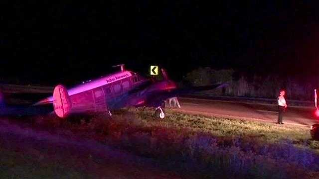 This small plane made an emergency landing on U.S. Highway 27.