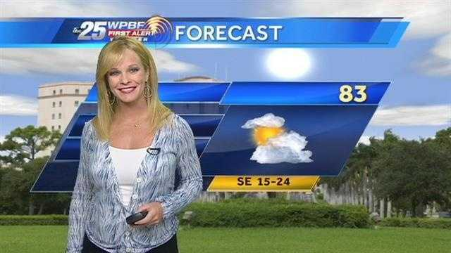 Sandra Shaw says it will be a warm and breezy day in the Palm Beaches and along the Treasure Coast.