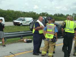 A car overturned on Interstate 95 near Hobe Sound just before noon Wednesday.