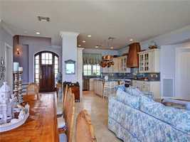 Open layout seen in this kitchen, dining room, and family room.