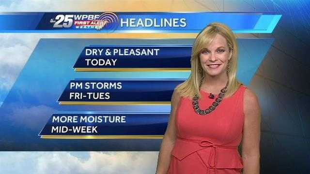 Sandra says we have one more day of perfect weather before the rain chances increase on Friday.