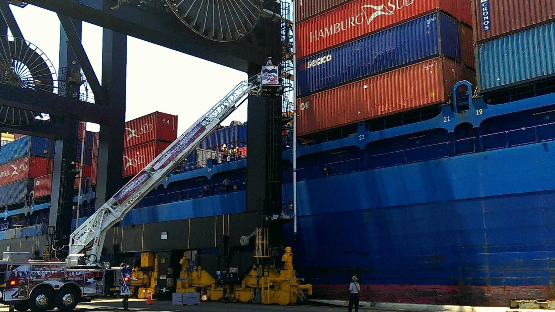 A man was injured by a cargo container at Port Everglades on Sunday.