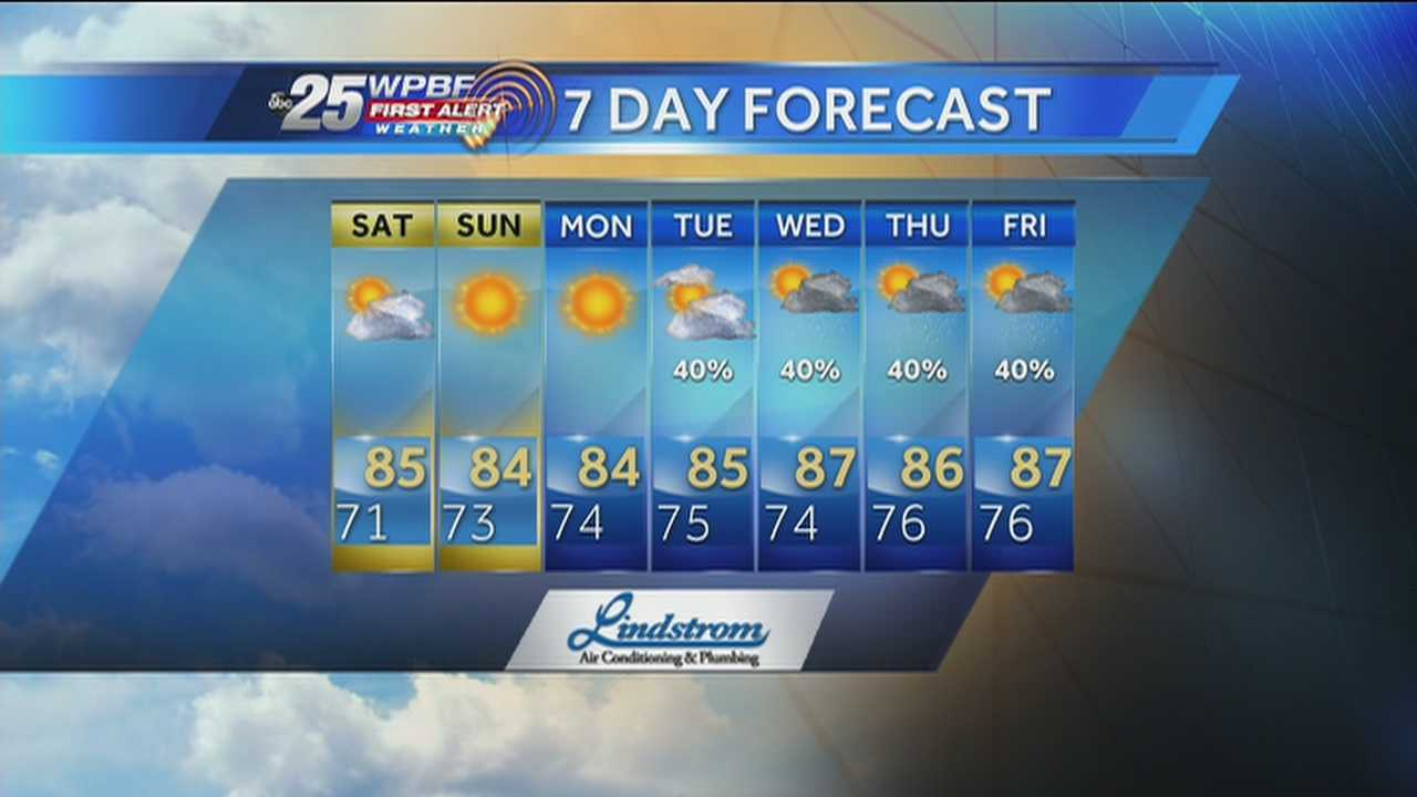 Justin says a warm and mostly sunny Saturday is on tap around the Palm Beaches.