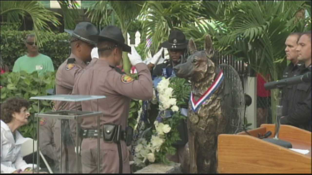 A K-9 memorial was dedicated in Lake Worth on Sunday night and will acknowledge Florida police dogs killed in the line of duty.