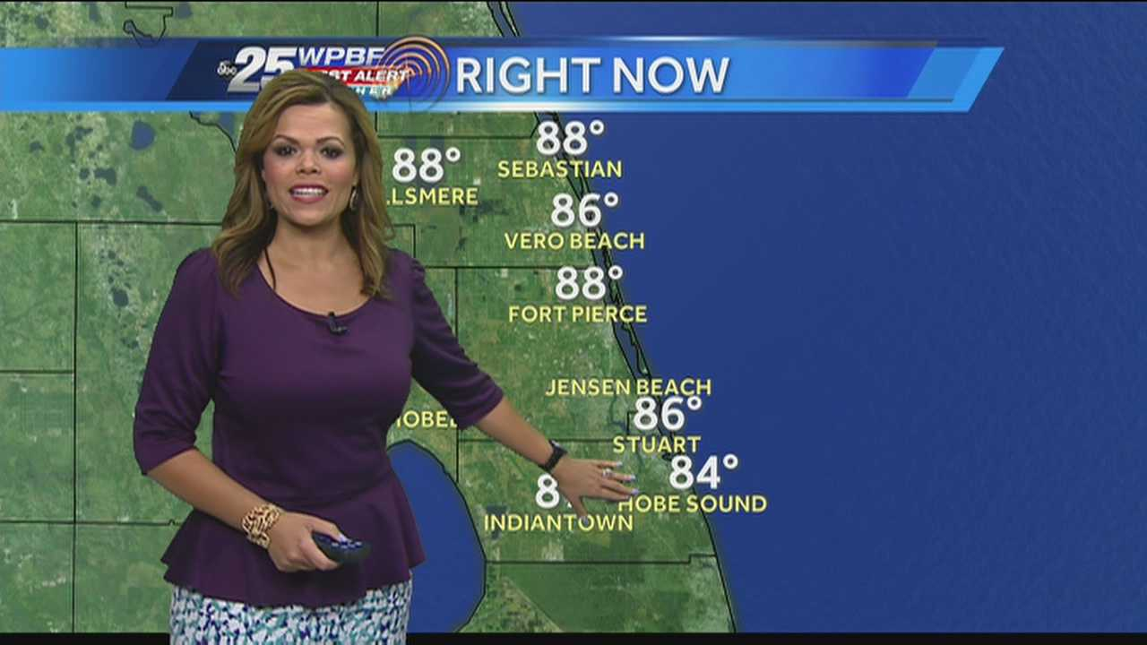 Felicia says expect clear skies and high temperatures early on today but scattered showers throughout the Palm Beaches later this afternoon.