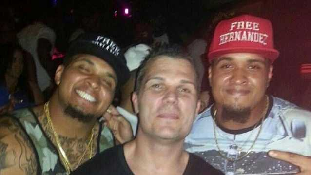 """Mike and Maurkice Pouncey are photographed wearing """"Free Hernandez"""" hats to show support for former University of Florida teammate Aaron Hernandez."""