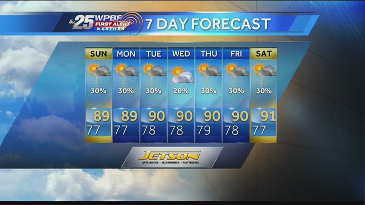 Justin says more wet weather is expected around town Sunday.