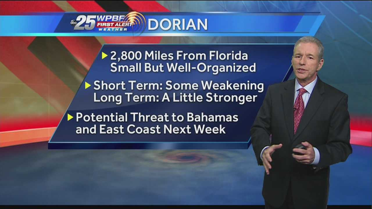 Tropical Depression Dorian continues to make its way west-northwest, and although it's too early to tell if it will reach South Florida, it's still something the WPBF 25 First Alert Weather team will be keeping an eye on.