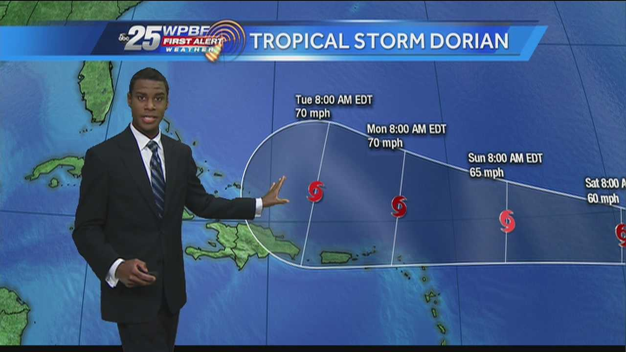 Get the latest track for Tropical Storm Dorian, even though it's still quite a ways away from our area.