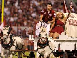 Pulled by two white ponies named Boomer and Sooner, Oklahoma's Sooner Schooner is one of the more recognized college football traditions in America.