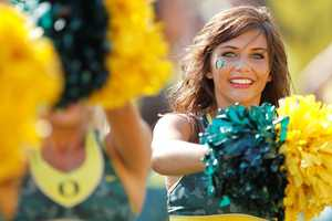 The Oregon Ducks aren't just known for football. Their cheerleaders have a pretty high reputation as well.
