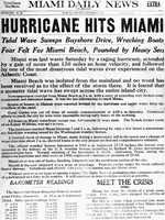 1926: The newspaper announces the hurricane that hit Miami.