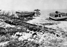 1935: Boats and the train tracks were damaged during a hurricane that hit The Keys.