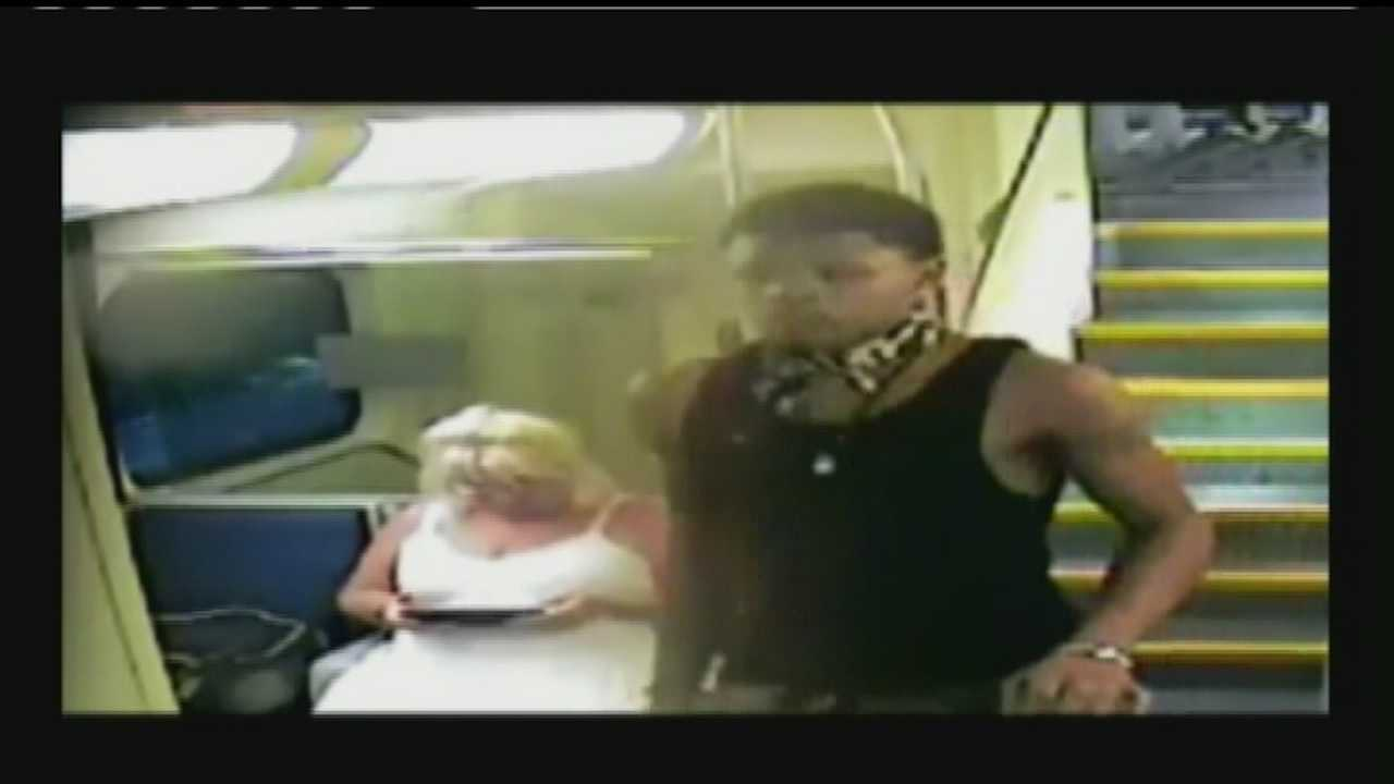 A woman is robbed on a Tri-Rail train and the crime is caught on surveillance video.