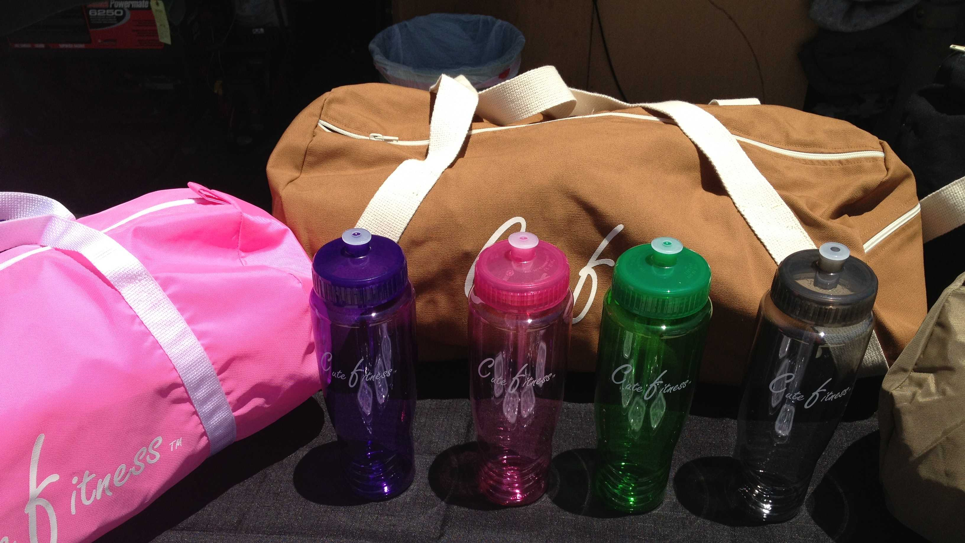 These are just some of the Cute Fitness products that Dorothy James is trying to sell.