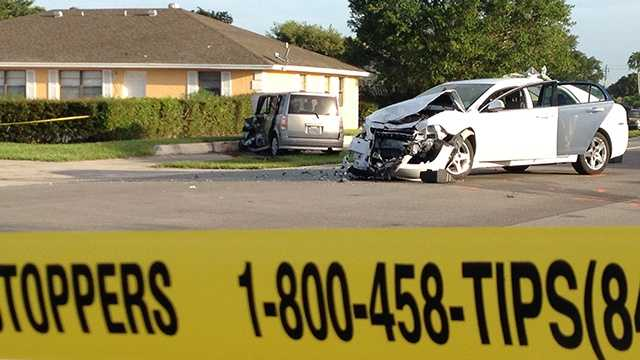 An elderly woman was killed in two-car crash in Wellington on Monday morning.