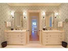 Dual vanities in the bathroom.