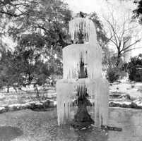 Frozen fountain by the state capitol.  Photograph taken in 1899.  In February of 1899, a freeze of -2 degrees happened in Tallahassee, according to the Florida Climate Center provided by Florida State University.
