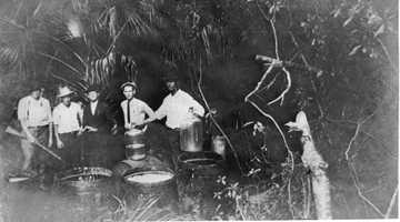 1922: A moonshine still in Daytona Beach.