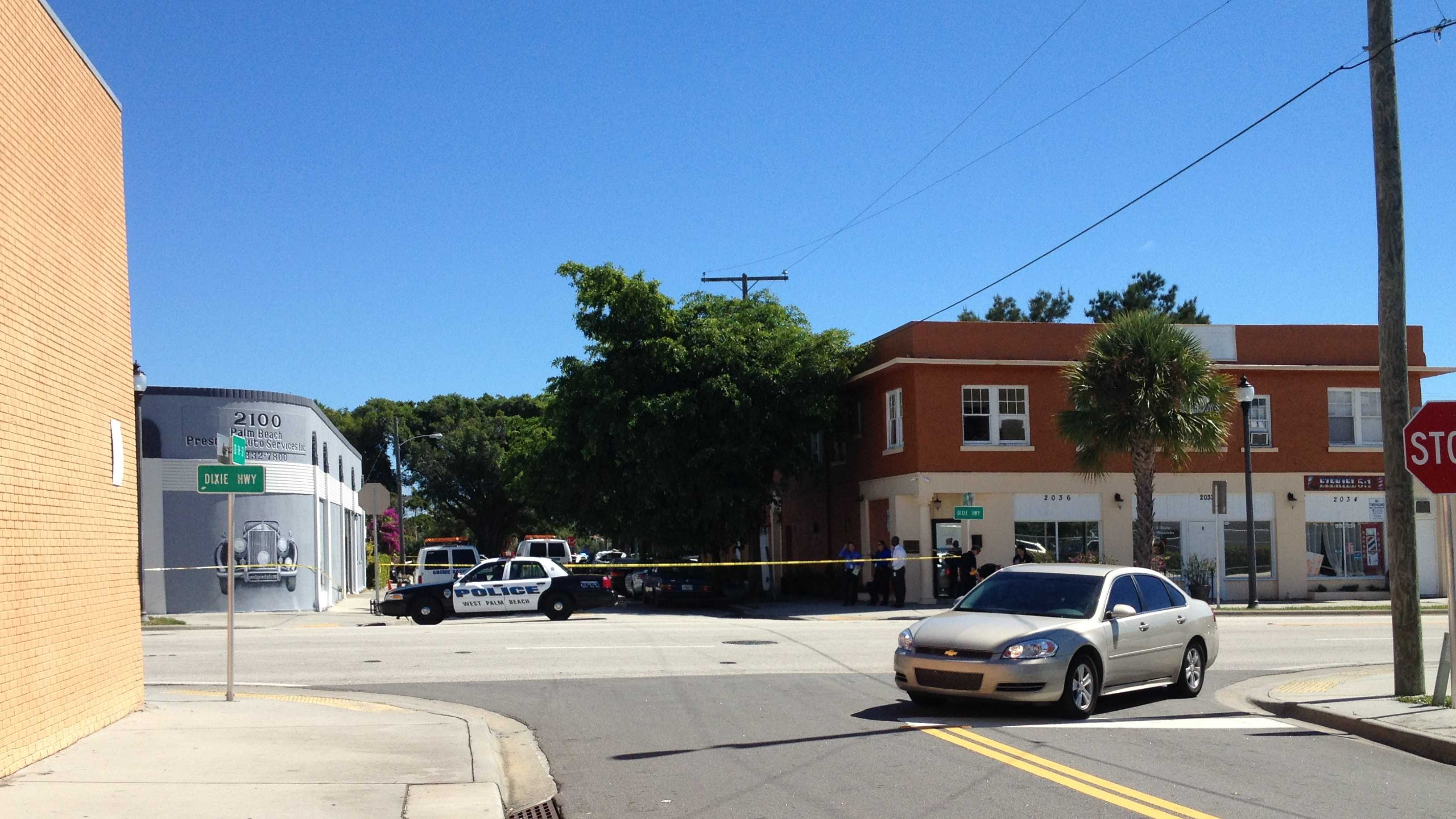 Police are investigating a shooting on Dixie Highway in West Palm Beach.