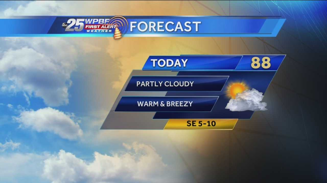 Justin says a pleasant Saturday is on tap around the Palm Beaches and Treasure Coast.