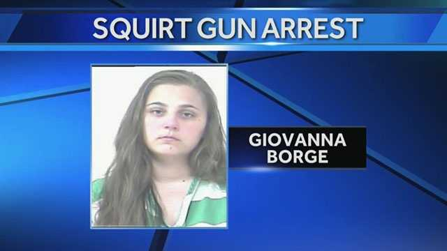 Giovanna Borge faces a battery charge after allegedly squirting her boyfriend with a squirt gun.